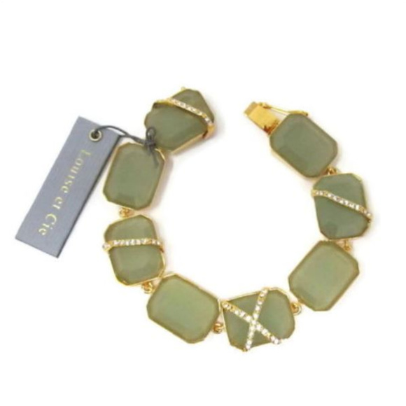 Louise et Cie Jewelry - Louise et Cie Green Caged Stone Link Bracelet